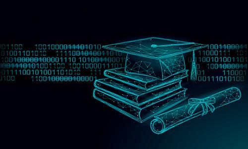 grad cap, books, diploma, and binary code, illustration